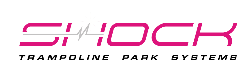 Shock Logo with the text trampoline park systems below it.
